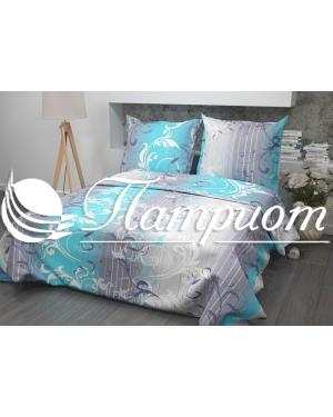 КПБ 1.5 спальный Симфония, голубой, набивная бязь 125 гм2 304-1